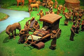 古代贸易场景彩绘泥塑