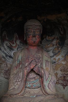 麦积山石窟彩绘佛像坐像