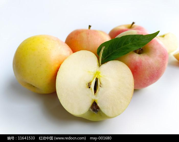 白底青红苹果图片