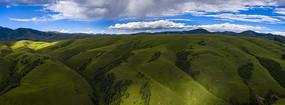 蓝天白云下的高山草原
