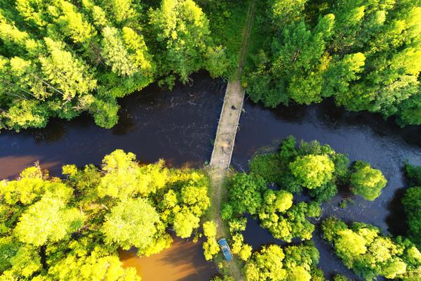 航拍大兴安岭森林小河桥梁