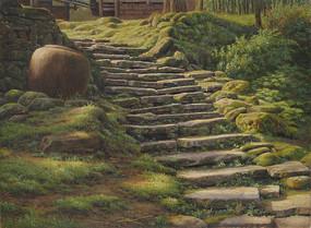 茶马遗踪风景油画图片