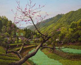 蜀山春风景油画图片