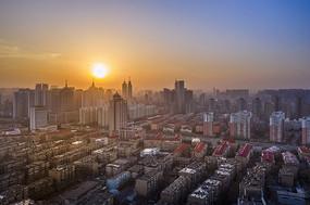 城市日落景色