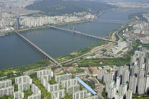 首尔汉江桥梁-奥林匹克大桥俯拍