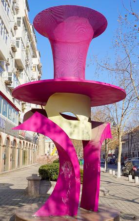 青岛德国风情街礼帽面具雕塑