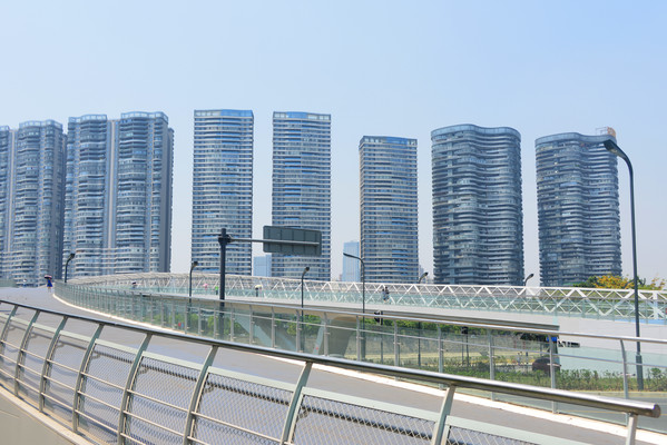 成都府河桥梁及沿岸城市风光