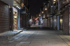 嘉善西塘东出入口街道夜色