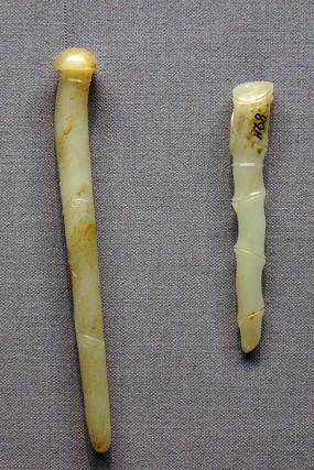 明代竹节纹白玉簪