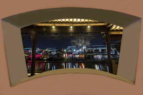 透过窗户看西塘夜景
