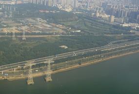 航拍 廣東深圳廣深沿江高速公路