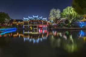 美麗的西塘水上戲臺夜景