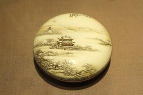民國時期雪景山水印色盒