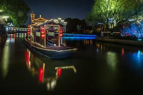 西塘夜船美景