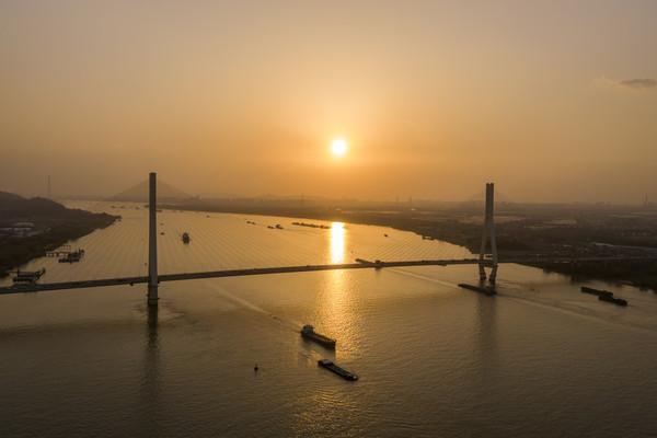 南京八卦洲长江大桥日落美景