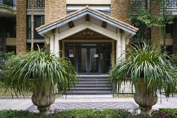 西式风格住宅楼单元门门庭外景