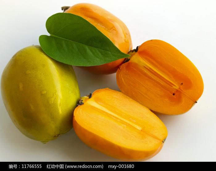 白底绿色柿子图片