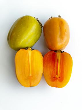 白底切开熟柿子