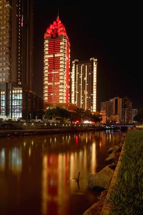 夜晚深圳罗湖高楼灯光